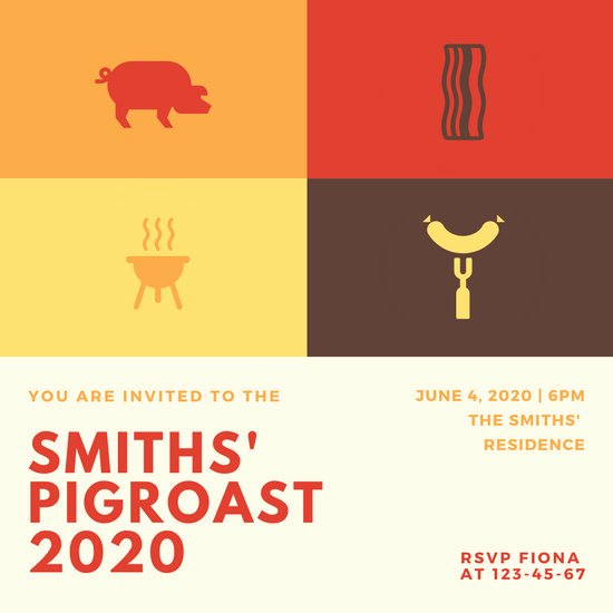 Pig Roast Invitation Template Free Best Of Customize 46 Pig Roast Invitation Templates Online Canva