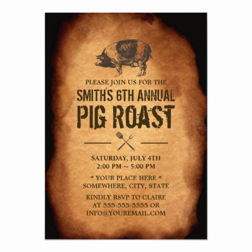 Pig Roast Invitation Template Free Elegant Vintage Old Annual Pig Roast Bbq Party Invitations