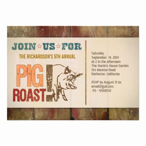"Pig Roast Invitation Template Free Fresh Pig Roast Barbecue Party Invitations 5"" X 7"" Invitation"