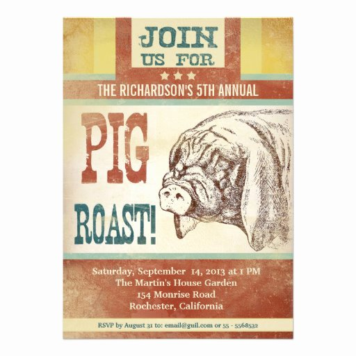 Pig Roast Invitation Template Free Inspirational Pig Roast Barbecue Party Invitations