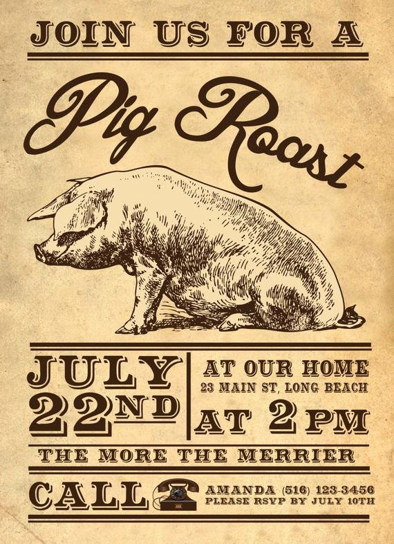 Pig Roast Invitation Template Free Lovely Pig Bbq Invitation by Scoutdesignshop On Etsy