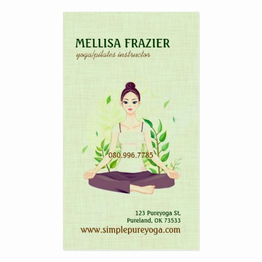 Pilates Gift Certificate Template Luxury Yoga Pilates Meditation Business Instructor Business Card