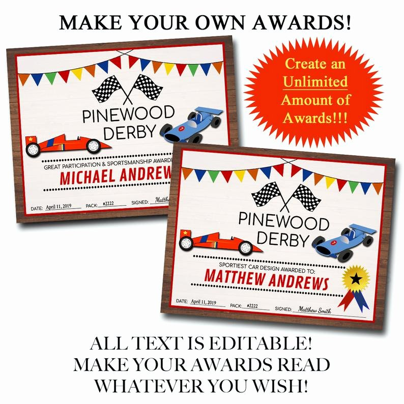 Pinewood Derby Award Certificate Template Beautiful Editable Derby Award Certificates Instant Download Boy