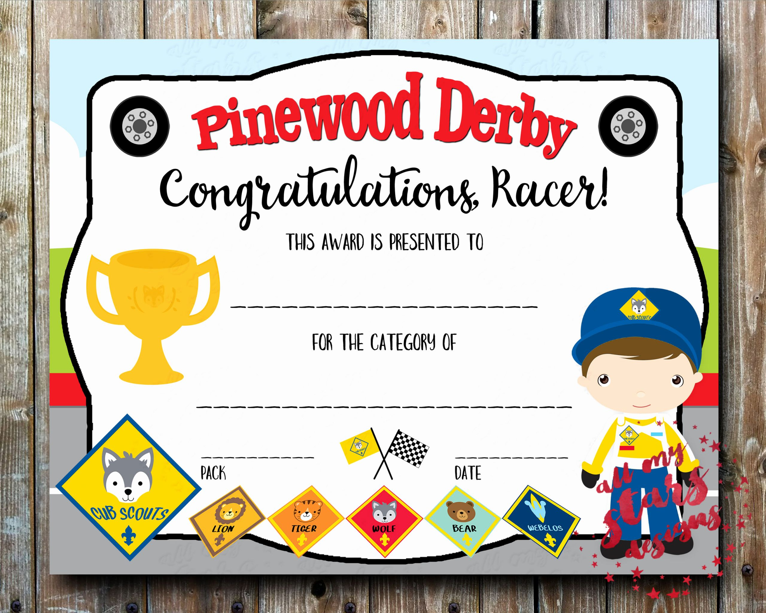 Pinewood Derby Award Certificate Template Luxury Cub Scout Pinewood Derby Category Certificate Diy Printable