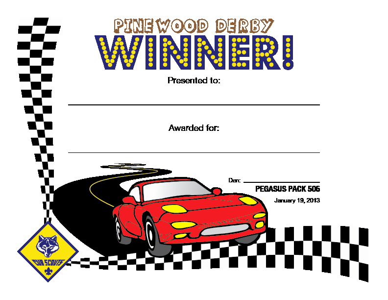 Pinewood Derby Award Certificate Template Luxury Cub Scout Pinewood Derby Certificates