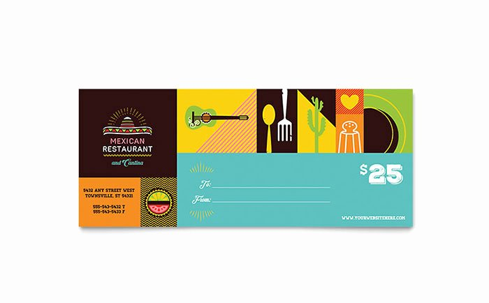 Pizza Gift Certificate Template Inspirational Mexican Food & Cantina Gift Certificate Template Word