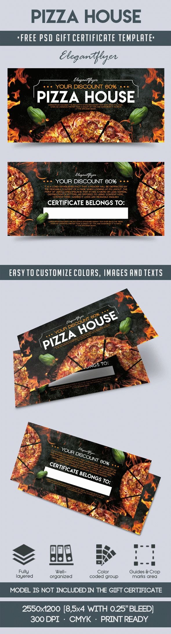 Pizza Gift Certificate Template Unique Pizza House – Free Gift Certificate Psd Template – by