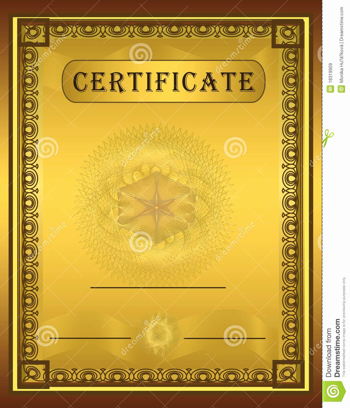 Plank Owner Certificate Template Beautiful Certificate Gold Frame Vertical Stock Vector