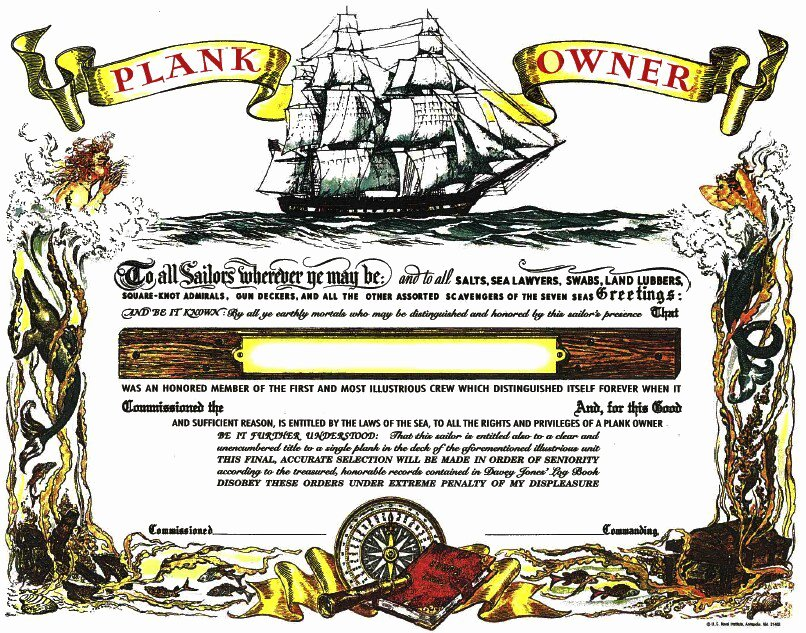 Plank Owner Certificate Template Inspirational Plank Owner Certificate Unused Mint From the Us Naval