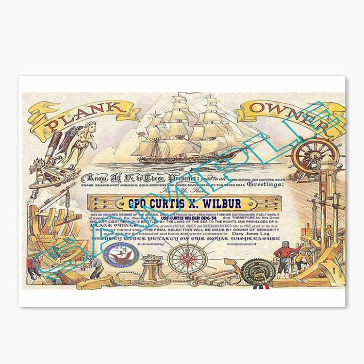 Plank Owner Certificate Template New Sailors Postcards