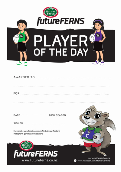 Player Of the Game Certificate Awesome Futureferns Mynetball Netball New Zealand