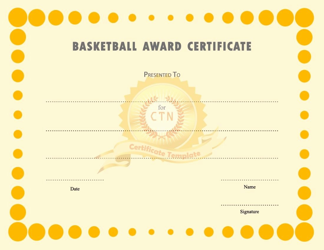 Player Of the Game Certificate Best Of Basketball Award Certificate to Print