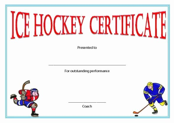Player Of the Game Certificate Fresh Ice Hockey Award Certificate Template