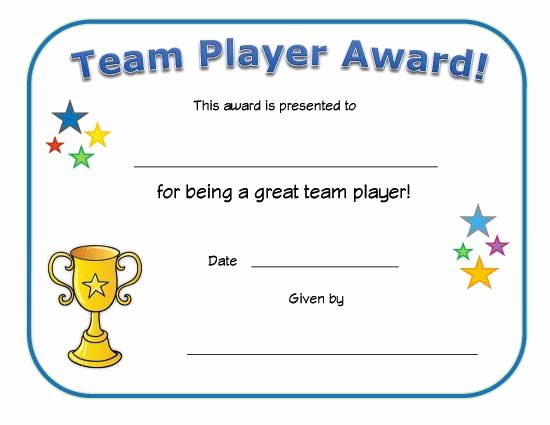 Player Of the Game Certificate Inspirational Team Player Award Certificate