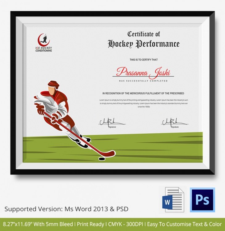 Player Of the Game Certificate Luxury 5 Hockey Certificates Psd & Word Designs