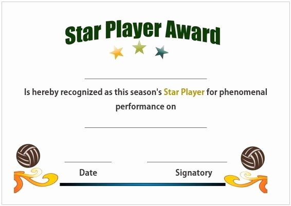 Player Of the Game Certificate New 19 Best Volleyball Certificates Free Printables Images On