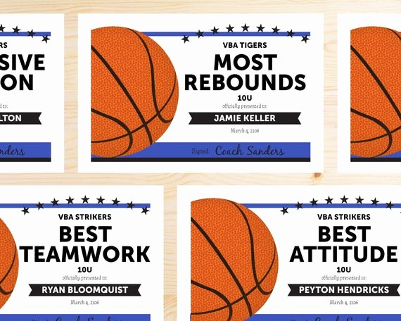 Player Of the Game Certificate Unique Editable Basketball Award Certificates Instant Download