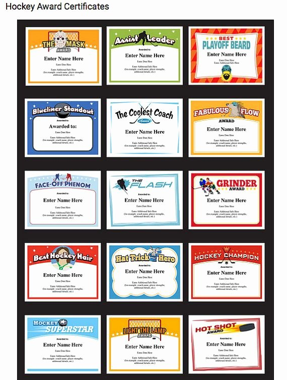 Player Of the Game Certificates Awesome Hockey Certificates Editable Kid Certificates Child