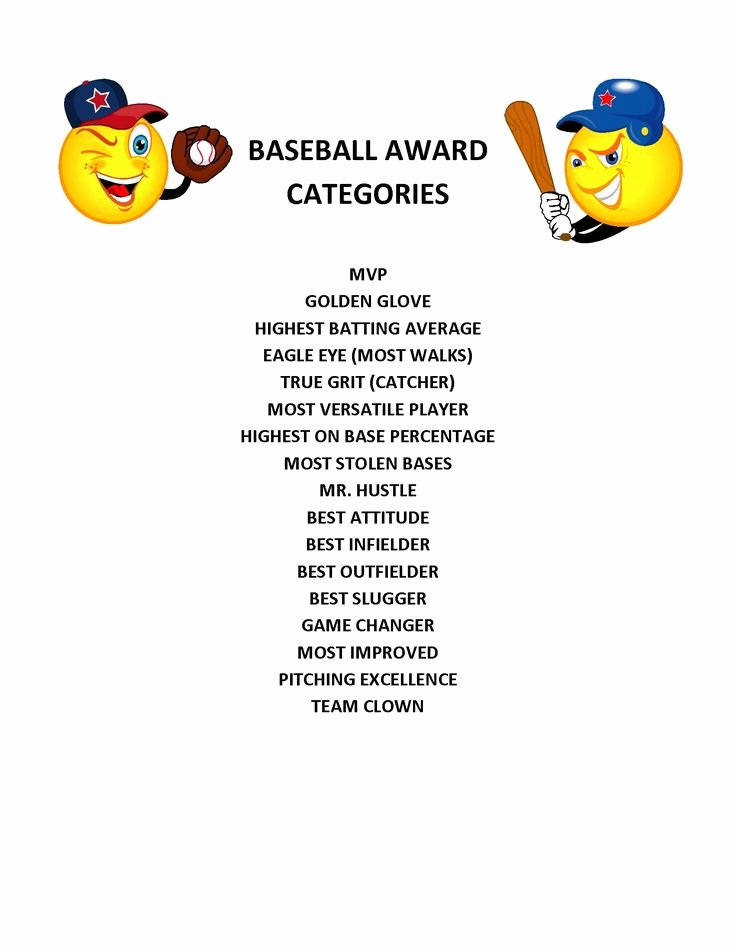 Player Of the Game Certificates Beautiful End Of Season Baseball Award Categories