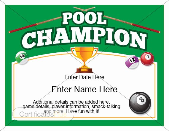 Player Of the Game Certificates Elegant Pool Certificate Pool Champion Award Pool Award Template