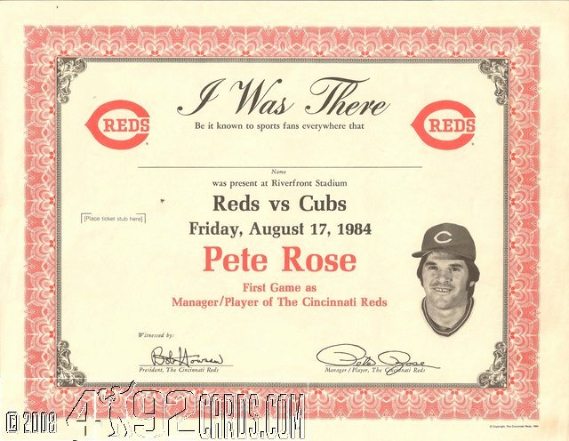 Player Of the Game Certificates Inspirational Pete Rose Odd Ball 1979 1984