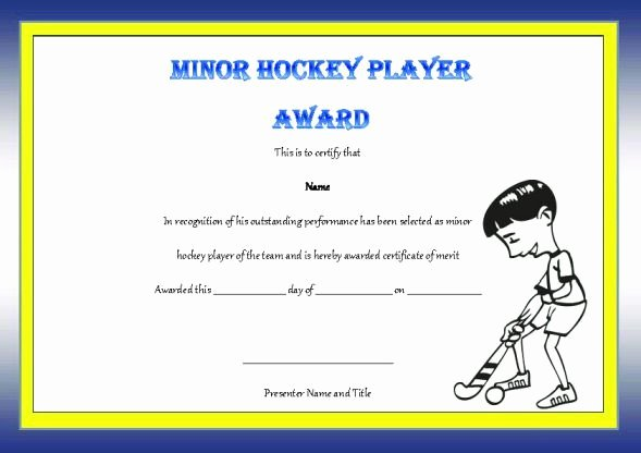 Player Of the Game Certificates New Minor Hockey Player the Game Award