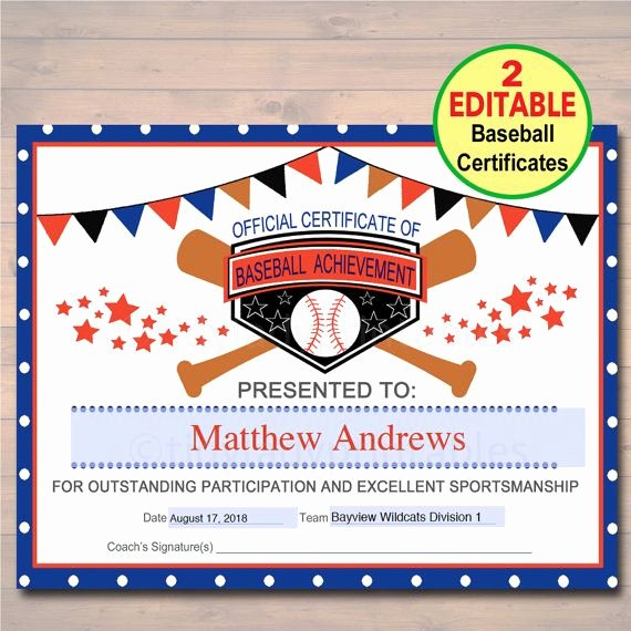 Player Of the Game Certificates Unique Editable Baseball Award Certificates Instant Download