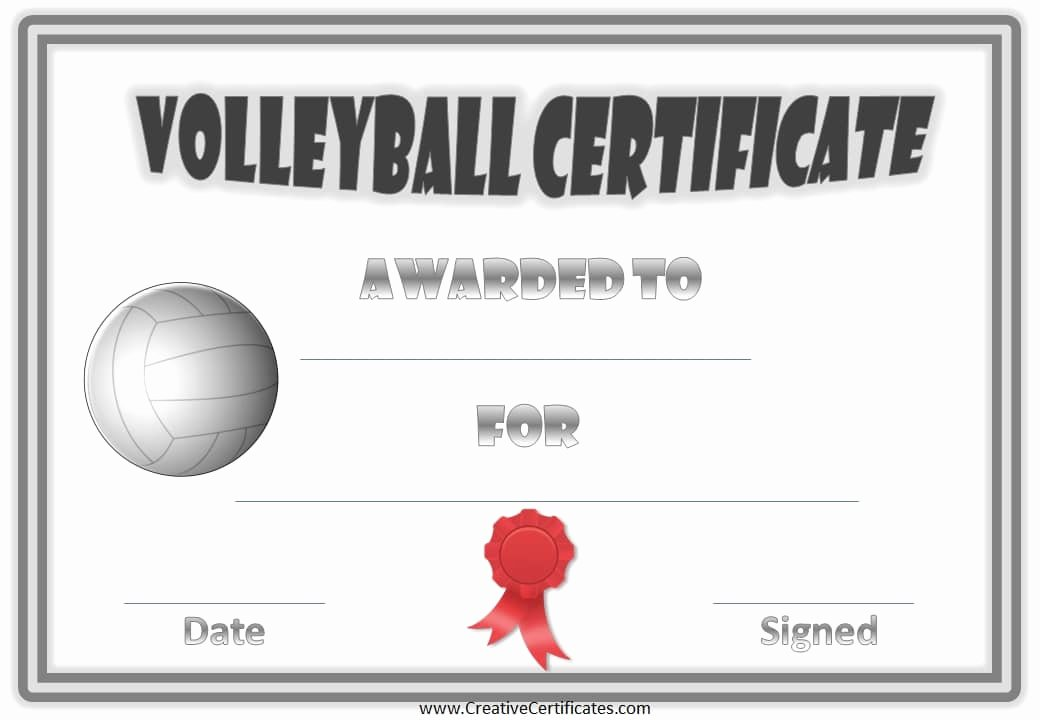 Player Of the Week Template Awesome Free Volleyball Certificate Templates Customize Line