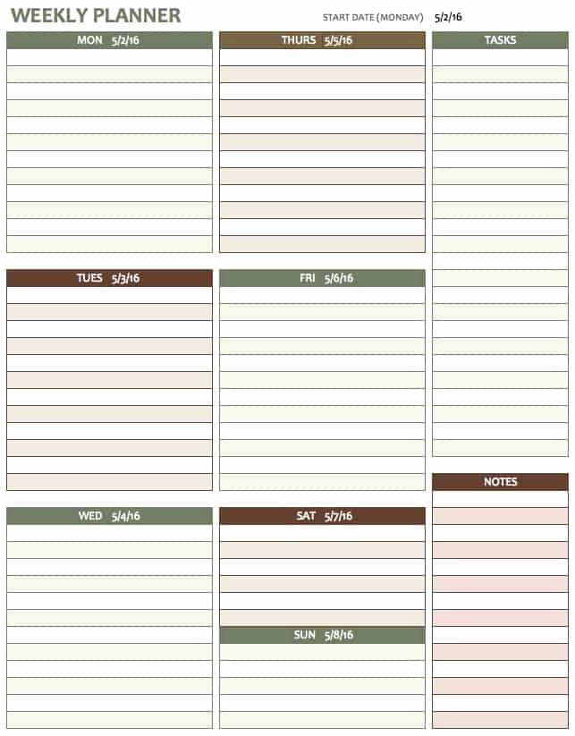 Player Of the Week Template Elegant Free Weekly Schedule Templates for Excel Smartsheet