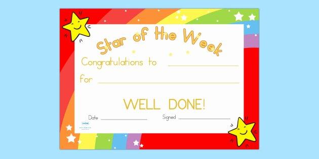 Player Of the Week Template Luxury Star Of the Week Certificate Award Reward Certificate