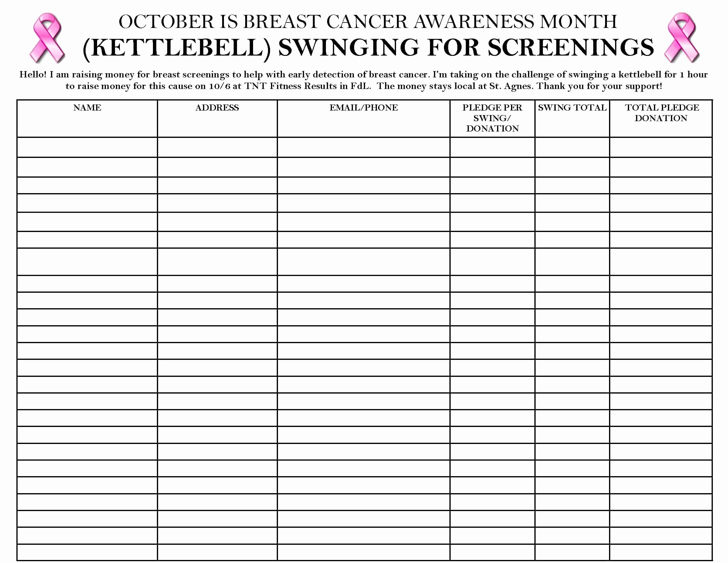 Please Sign In Sheet Fresh Swingin' Bells & Stompin' Ground for Breast Cancer