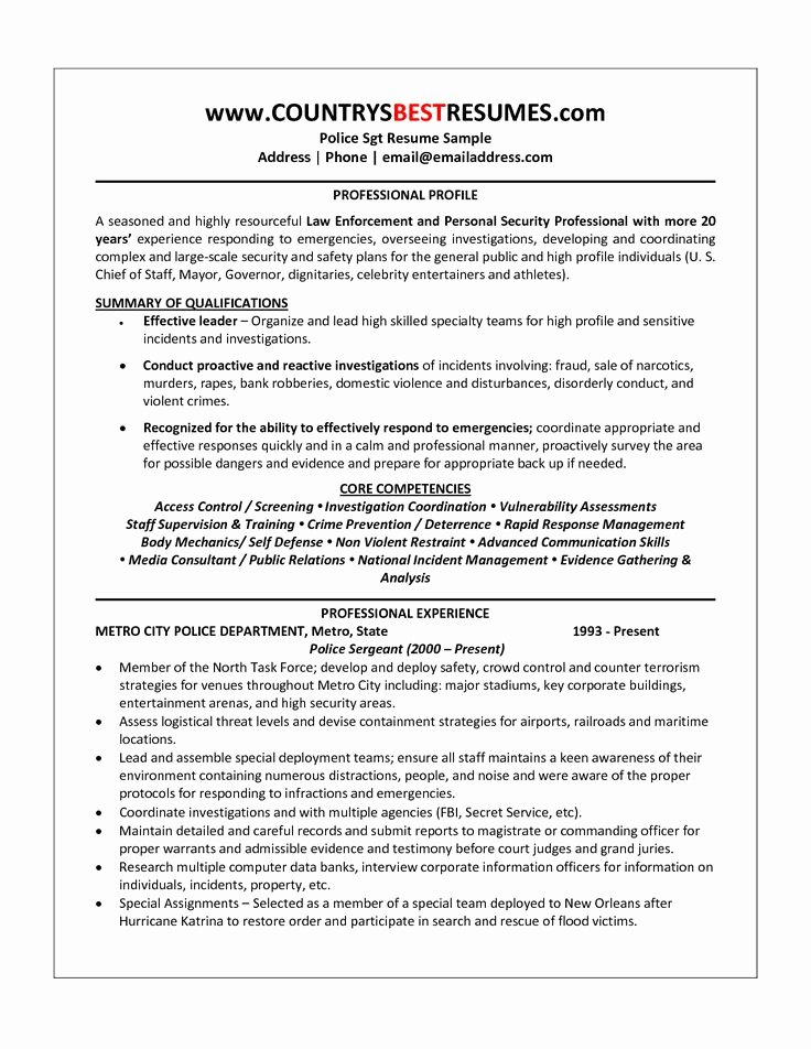Police Chief Resume Fresh 25 Unique Police Officer Resume Ideas On Pinterest