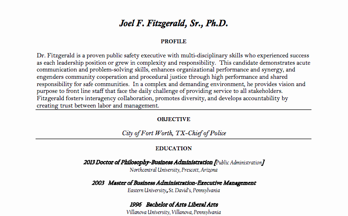 Police Chief Resume Fresh Here's Police Missioner Nominee Joel Fitzgerald's Pre