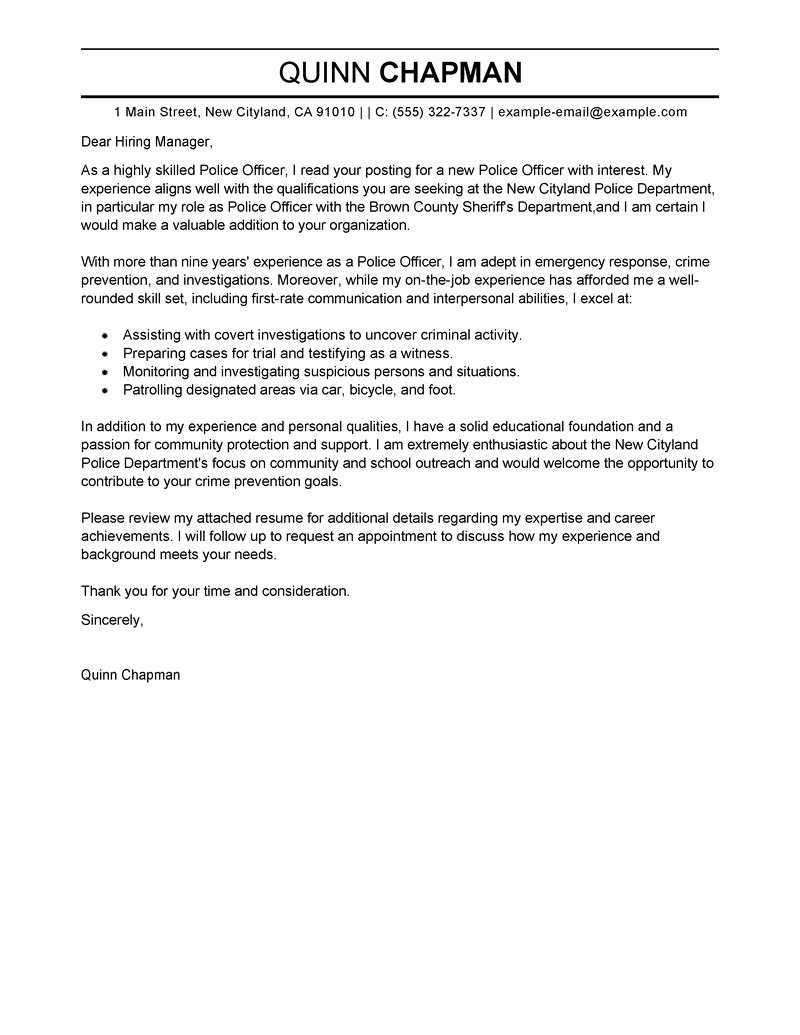 Police Chief Resume Luxury Best Police Ficer Cover Letter Examples
