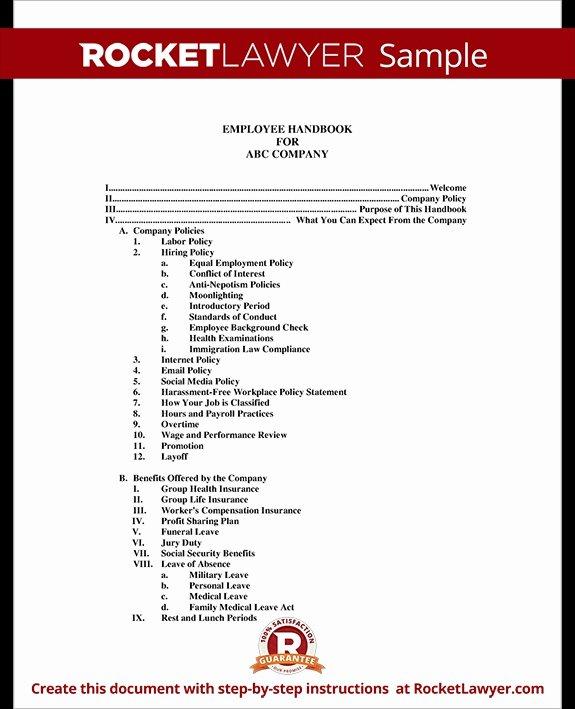 Policy Manual Sample Best Of Employee Handbook Template