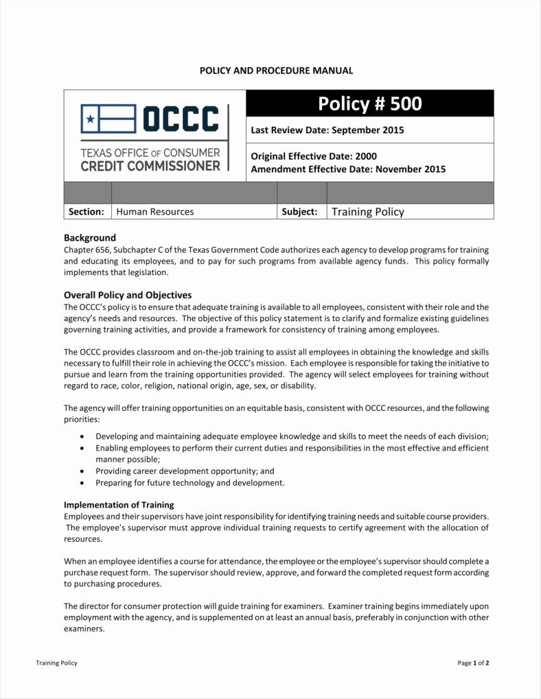 Policy Manual Sample Luxury 10 Training Policy Templates Free Pdf format Download