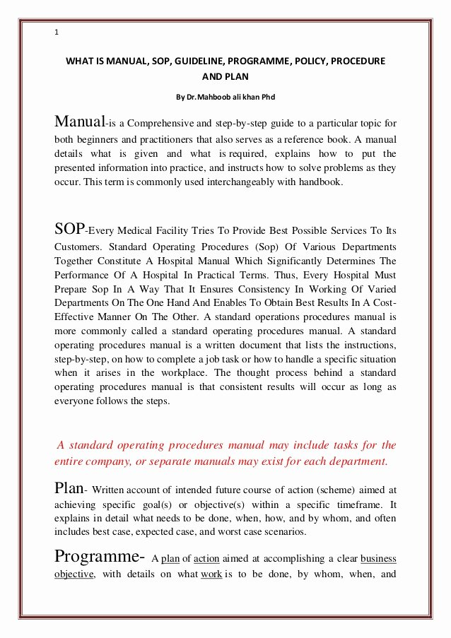 Policy Manual Sample New What is Manual sop Guideline Programme Policy