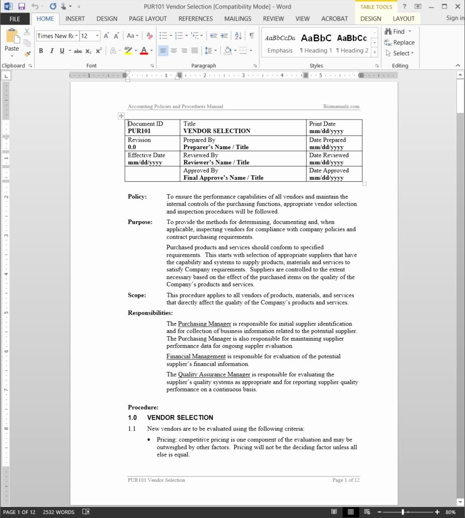 Policy Manual Sample New why Use Microsoft Word Templates for Policies and Procedures