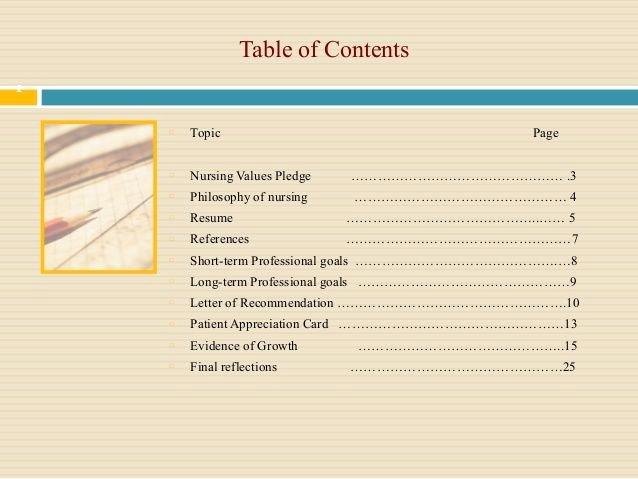 Portfolio Table Of Contents Template Beautiful Professional Nursing Portfolio Google Search