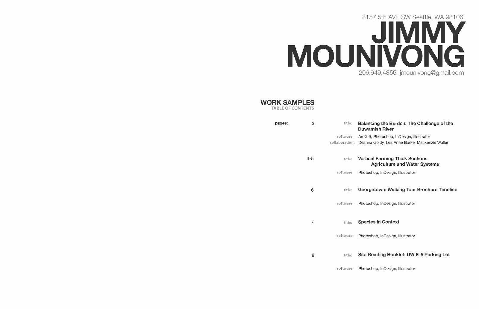 Portfolio Table Of Contents Template Best Of Jimmy Mounivong January 2011