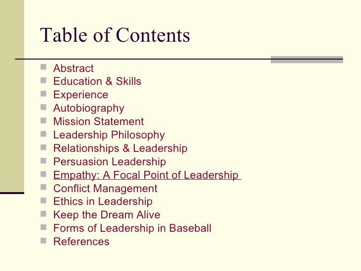 Portfolio Table Of Contents Template Elegant Leadership Portfolio