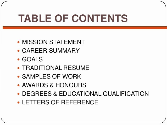 Portfolio Table Of Contents Template Lovely Simple Career Portfolio