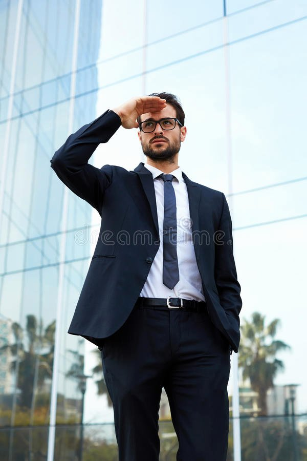 Portrait Of An Achiever Poster Elegant Portrait Serious Young Businessman Outdoors Business