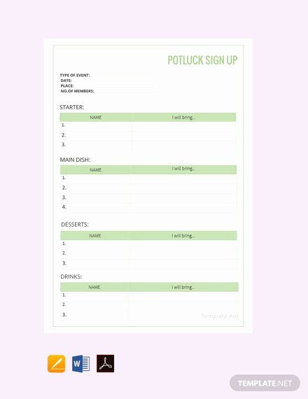 Potluck Signup Sheet Excel Best Of Free Potluck Sign Up Sheet Template Pdf Word