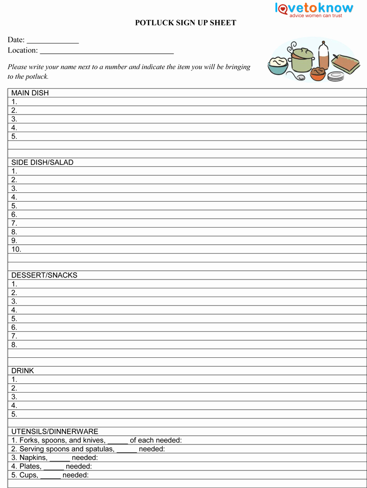 Potluck Signup Sheet Excel Best Of Potluck Sign Up Sheet Template Pdf 750×997