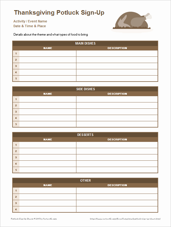 Potluck Signup Sheet Excel New Potluck Sign Up Sheets for Excel and Google Sheets