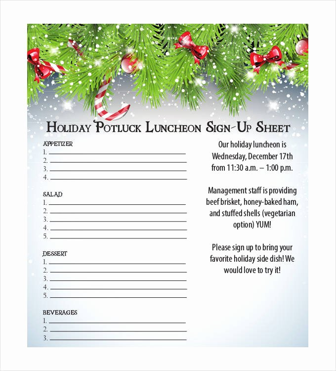 Potluck Signup Sheet Pdf Elegant Holiday Sign Up Sheet Templates Free