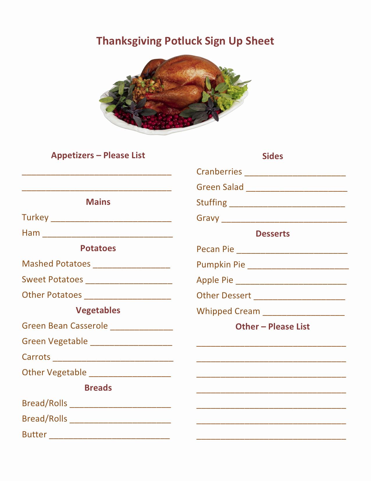 Potluck Signup Sheet Word Inspirational Thanksgiving Potluck Sign Up Printable