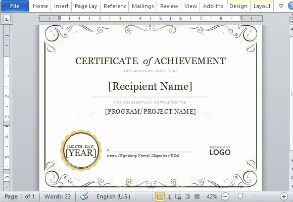 Powerpoint Award Certificate Template Beautiful Certificate Achievement Template for Word 2013