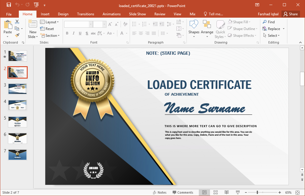 Powerpoint Award Certificate Template Luxury Animated Certificate Powerpoint Template